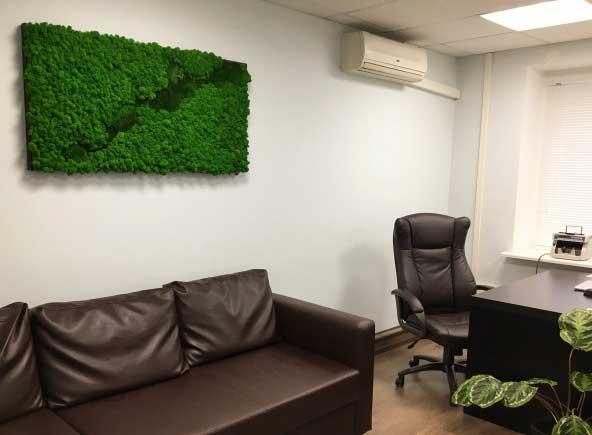 Картина из мхов в интерьере офиса